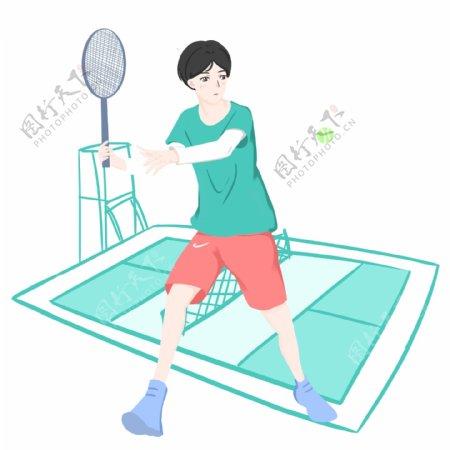 网球运动卡通插画