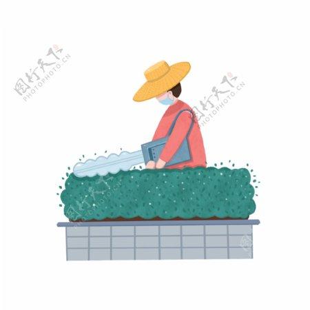 现代劳动人物之扁平风园丁修剪草木场景免抠素材