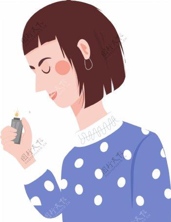 抽烟的短发少女卡通png素材