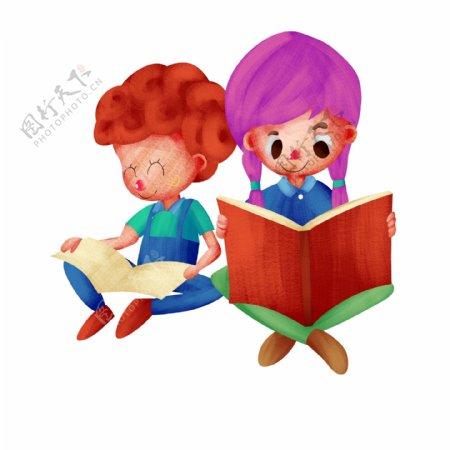 读书学习插画手绘风