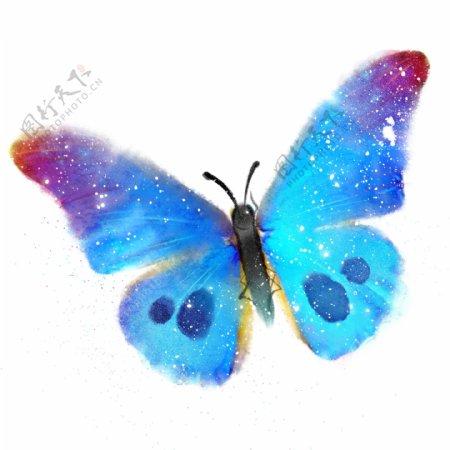水彩风格手绘蓝色蝴蝶花蝴蝶斑点昆虫子梦幻