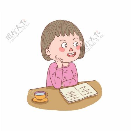 卡通手绘人物看书少女
