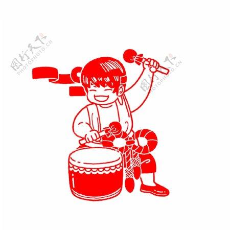 打鼓的娃娃剪纸插画