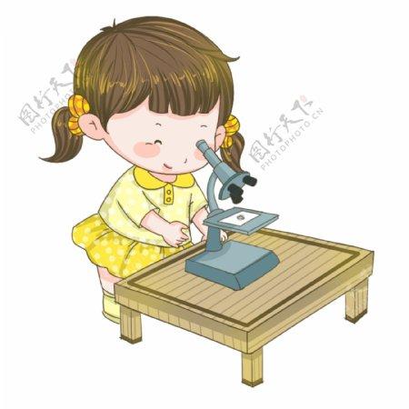 手绘女孩显微镜插画