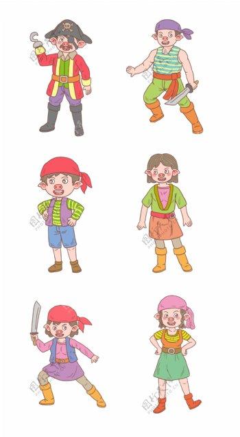 猪年卡通手绘海盗系列
