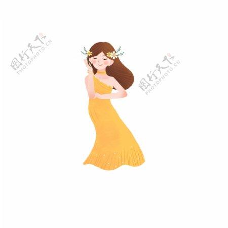 原创唯美黄裙气质女孩