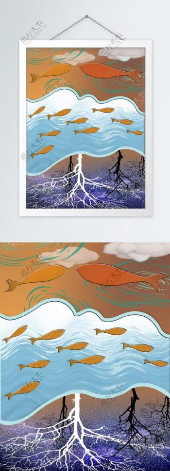 简约创意天空飞鱼客厅装饰画