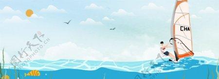 健康冲浪运动蓝色背景素材