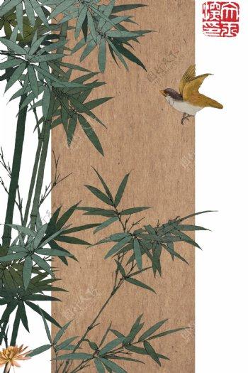简单工笔画竹子背景