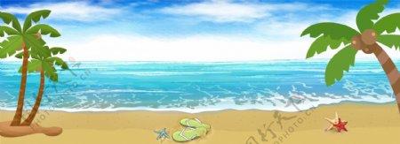 春季沙滩椰树banner背景图