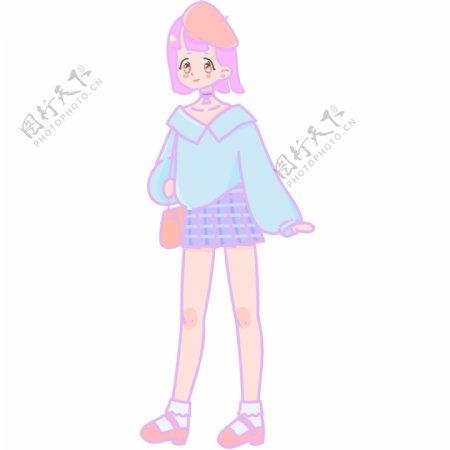 短发短裙女孩PNG素材