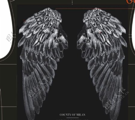 翅膀印花烫钻设计个性