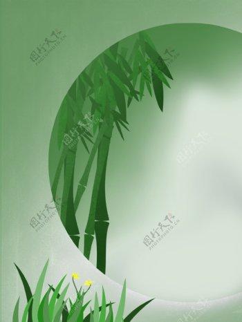 创意圆环里的竹子背景素材