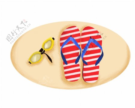 红色条纹拖鞋