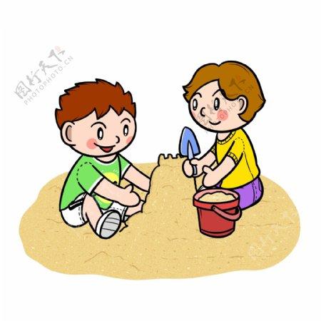 卡通夏季儿童沙滩玩耍png透明底