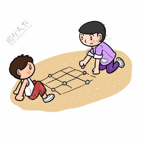 卡通儿童节回忆童年玩石子游戏png透明底