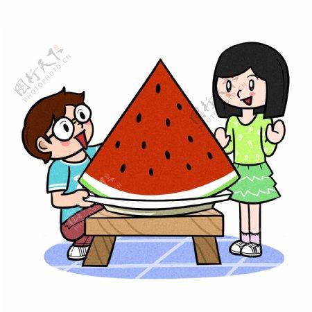卡通儿童夏季吃大块西瓜png透明底