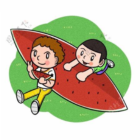 卡通儿童夏天爱吃大块西瓜png透明底