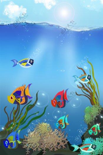 清新蓝色海底世界阳光照射海报背景