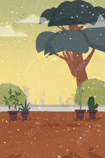 手绘卡通植物背景
