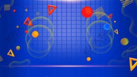 创意漂浮的几何图形蓝色背景素材