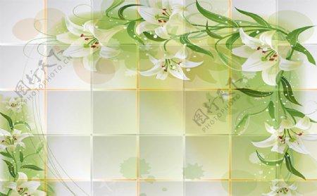 绿色百合方块软包电视背景墙