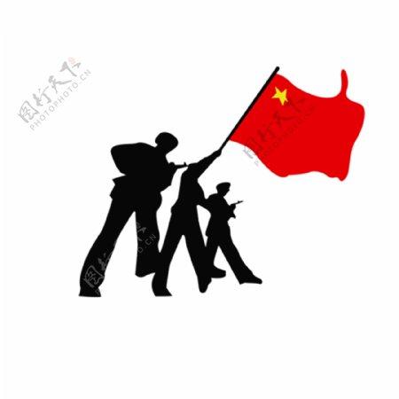 红旗飘动军人GIF