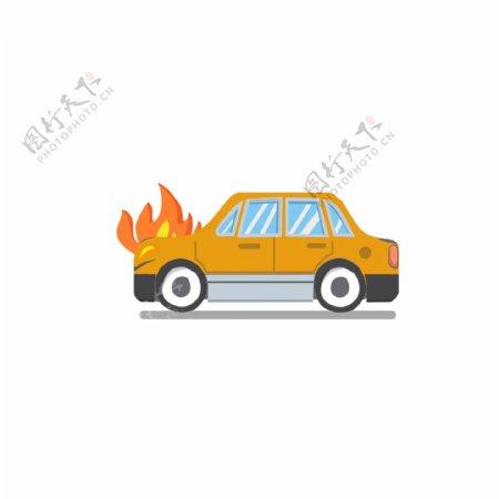 汽车意外遭遇火灾GIF