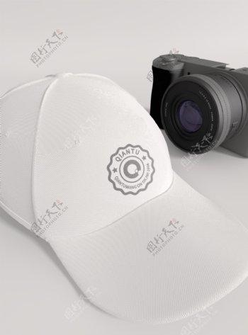 原创模型白色帽子logo样机鸭舌帽