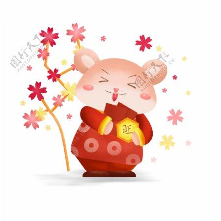 2020鼠年贺岁可爱卡通鼠抱红包