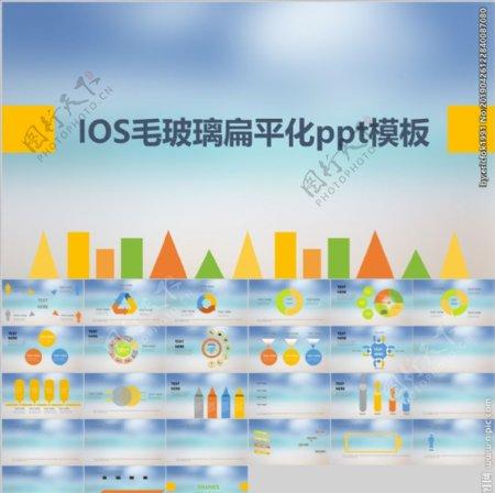IOS毛玻璃扁平化PPT模板