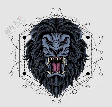 狮子头插画