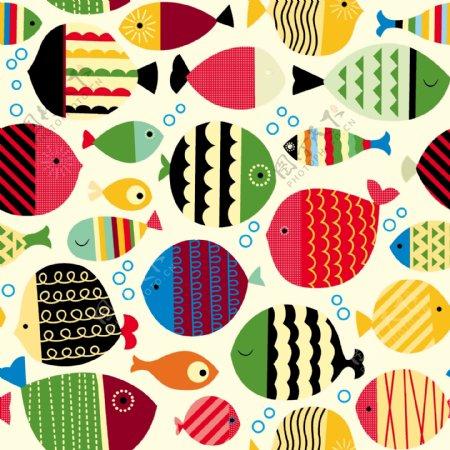 鱼儿彩色鱼鱼卡通印花