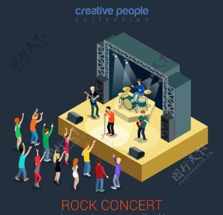 演唱会乐队表演主题插画
