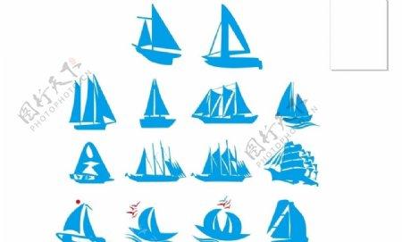 矢量帆船简笔一帆风顺