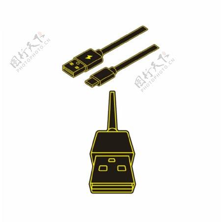 USB数据线线条图绘制
