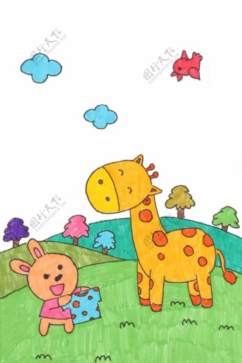蜡笔画儿童画小兔子长颈鹿