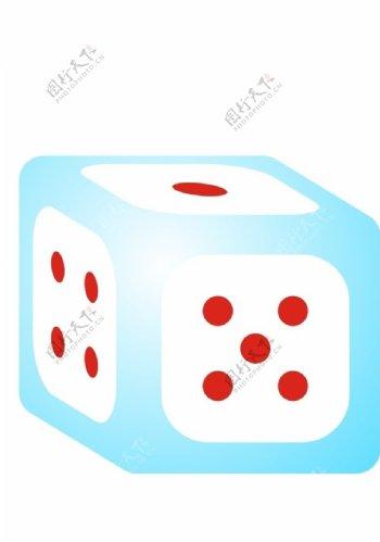 立体骰子色子渐变蓝色正方体矢量