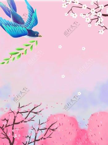春天粉红背景