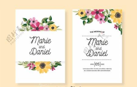彩色花卉婚礼邀请卡正反面
