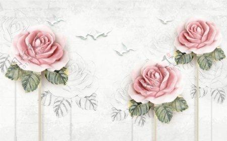 美丽玫瑰花朵白鸽背景墙