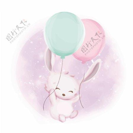 卡通气球兔子