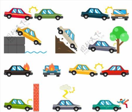 矢量汽车交通事故图标