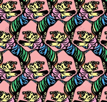 彩色老虎满腹图案面料花型矢量