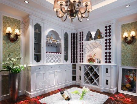 欧式风格酒柜效果室