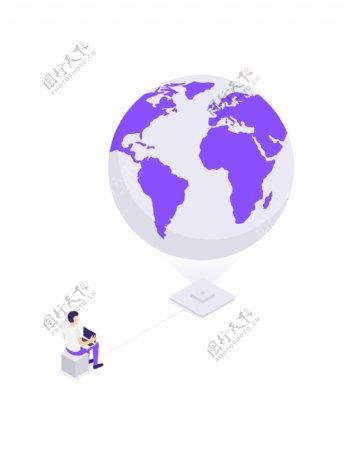 web图标地球仪插画