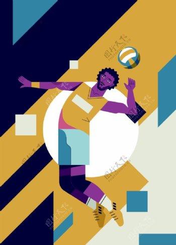排球运动卡通海报