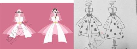 原创设计白色婚纱