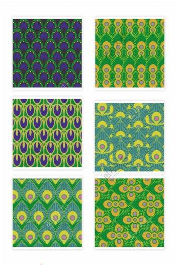 绿色无缝拼接花纹图案