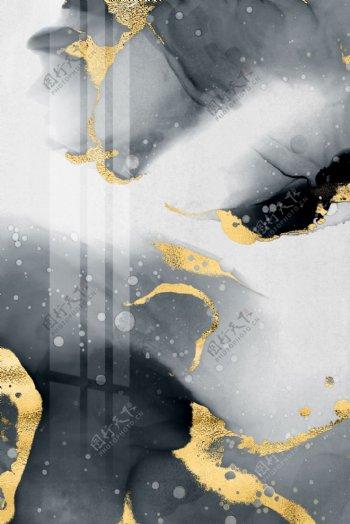 新中式金箔水墨墨点泼墨装饰画
